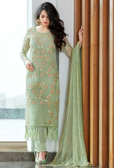 Add a vibrant burst of color for the wardrobe with this sea green fancy fabric designer pakistani suit. The embroidered and resham work looks chic and aspiration for any function. Comes with matching . Pakistani Suit With Pants, Pakistani Suits, Pakistani Dresses, Indian Dresses, Indian Outfits, Punjabi Suits, Shadi Dresses, Salwar Designs, Kurta Designs Women