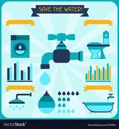 Slogan Of Save Water, Save Water Slogans, Save Water Poster Images, Marketing Process, School Decorations, Poster On, Fashion Flats, Vector Art, Web Design