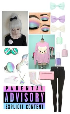 """""""Pastel Goth"""" by tellthewolvesimhome ❤ liked on Polyvore featuring Dr. Denim, UGG Australia, Silken Favours, Accessorize, Essie and Valentino"""