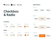 Checkbox & Radio, Kitt : Ornikar Design System by Julien Perrière - Dribbble Ui Buttons, Ui Patterns, Web Ui Design, Ui Design Inspiration, Ui Web, Creative Portfolio, Ui Elements, Design System, User Interface