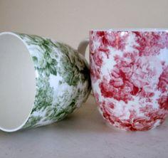 Pretty Pair of Coffee Mugs Rose of England by Somethingcharming