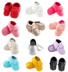 newborn Baby Moccasins Soft Moccs Baby Shoes girls fringe first walker Anti-slip pu Leather princess Infant boys footwear