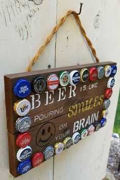 Hand painted bar sign - reclaimed wood sign - beer sign - unique mixed bottle caps -rustic decor - father's day gift by RecycliciousByBrandy on Etsy