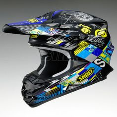 2013 Shoei Vfxw Motocross Helmet - Krack -TC11 - Black Multi - Shoei Motocross Helmets - Motocross Helmets - Motocross Kit