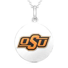 """Oklahoma State Cowboys Women's 18"""" Sterling Silver Necklace with 1"""" Round Pendant - $51.99"""