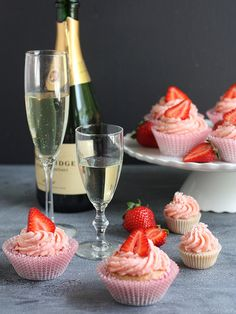 Strawberries and Champagne Cupcakes. Compliment them with your favorite champagne.