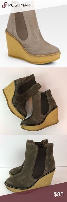 ✨Rebecca Minkoff Wedge Booties Size 8✨ 👠👞👟👡👢👠👞👟👡👢👠👞👟👡👢  YOU ARE BUYING: Rebecca Minkoff Boots  STYLE: Wedge   COLOR: Gray/Taupe  SIZE: 8   CONDITION: good pre-owned, obvious wear to bottoms, still look good Rebecca Minkoff Shoes Ankle Boots & Booties