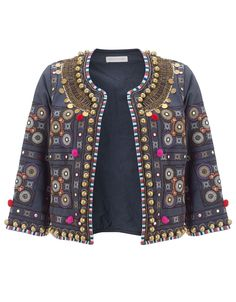 Embellished with an array of Indian-inspired textures our Glasto pom pom jacket has been cut from pure cotton and is designed to wear open. Fully lined, with ¾… Outfit Essentials, Kurta Designs Women, Blouse Designs, Dress Designs, Pom Pom Jackets, Free Clothes, Clothes For Women, Shrug For Dresses, Long Dresses