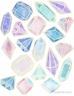 Pastel Watercolor Gems by Tangerine-Tane