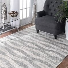 nuLOOM Contemporary Waves Grey Rug (7'6 x 9'6) - Free Shipping Today - Overstock.com - 17605165 - Mobile