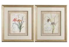2 Asst. Floral Framed Art