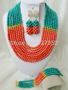 Online Shopping at a cheapest price for Automotive, Phones & Accessories, Computers & Electronics, Fashion, Beauty & Health, Home & Garden, Toys & Sports, Weddings & Events and more; just about anything else Turquoise Party, Orange And Turquoise, Green And Orange, Turquoise Jewelry, Teal Blue, Jewelry Party, Costume Jewelry, Jewelry Gifts, African Beads