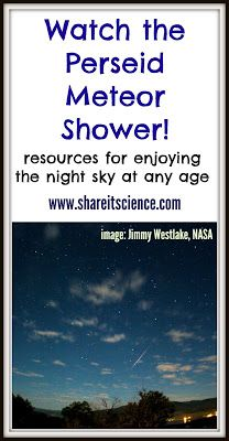 Share it! Science News : Watch the Perseid Meteor Shower! Info about this year's meteor shower and lots of resources for learning and teaching stargazing!