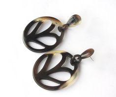 Pandora buffalo horn dangle earrings long drop by Fineoxjewelry, $14.80