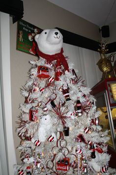 Coke themed tree, came out great on white tree, xmas 2013