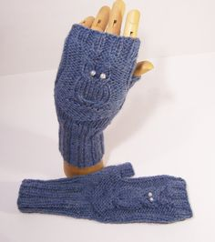 Handknitted Owl Fingerless Mittens Blue Owl Mittens by evefashion, £18.00