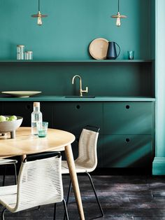 Discover the beautiful new green paint colours by Little Greene in collaboration with the National Trust, including deep sage, forest darks & lighter shades Shaker Style Kitchen Cabinets, Shaker Style Kitchens, Kitchen Cabinet Styles, Painting Kitchen Cabinets, Little Greene Farbe, Little Greene Paint Company, Green Dining Room, Green Paint Colors, Brick And Wood