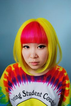 pink and canary yellow hair