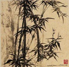 Vente de Noël Seul assis au milieu des bambous Zen, Middle, Bamboo, Paint