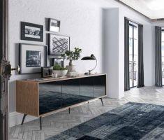 Credenza in noce con 4 ante Ferrara, cm Urban Deco, Modern Sideboard, Credenza, Grey Glass, Contemporary Furniture, Entryway Tables, Dining Room, Interior Design, Home Decor