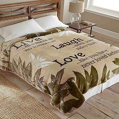 Hi Pile Luxury Oversized Live Laugh Love Blanket