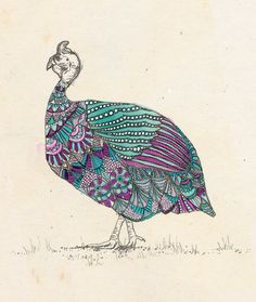 Tribal Guinea fowl - ink, watercolour & collage illustration print on archival paper