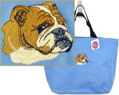 English British Bulldog Tote Bag Puppy Dog Show Breed Monogram Custom Embroidery…