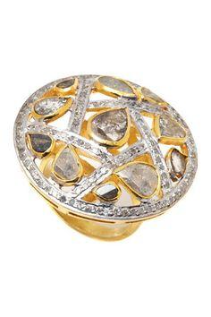Two-Tone White & Sliced Champagne Diamond Ring