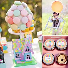 A Supersweet Up-Inspired Party: Love the balloon-inspired sweets, including the cutest cupcakes around and an awesome house with macaron balloons.