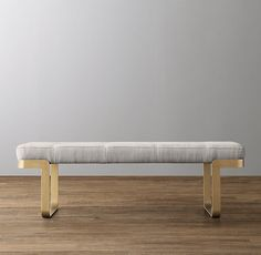 Vance Upholstered Wide Bench - Antiqued Brass Upholstered Bench, Ottoman Bench, Contemporary Hallway, Hallway Bench, Massage Table, Kids Seating, Round Corner, Hallway Decorating, Midcentury Modern