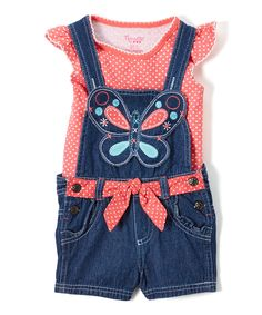 Take a look at this Coral Dot Angel-Sleeve Top & Shortalls - Infant, Toddler & Girls today!