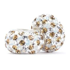 Set of 2 - Bella Fascini Champagne, White Opal & Clear Confetti Mix Crystal Pave - Solid .925 Sterling Silver Core European Charm Bead Made with Authentic SWAROVSKI Crystals - Compatible Brand Bracelets : Authentic Pandora, Chamilia, Moress, Troll, Ohm, Zable, Biagi, Kay's Charmed Memories, Kohl's, Persona & more!