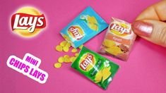 DIY Miniature Chips Lays for dolls. Mini doll food. Polymer clay tutoria...