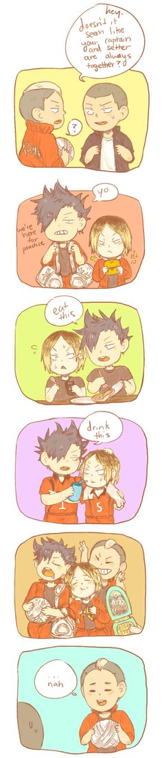 KuroKen - But, if Tanaka thinks about it , Daichi (his captain) and Suga (his setter) are always togethet too haha - Haikyuu