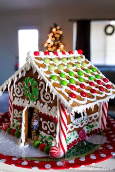Christmas gingerbread house with an ombre candy roof.  Other great tips, too!     My Name Is Snickerdoodle