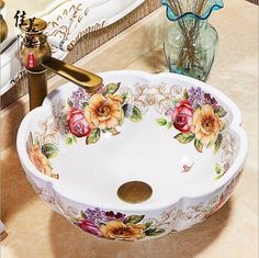 Pottery Bowls, Ceramic Bowls, Modern Small House Design, Rose Decor, Bowl Sink, Decoration Piece, Bathroom Design Luxury, China Dinnerware, Beautiful Bathrooms