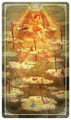 Ostara Tarot - 7 of Wands -  If you love Tarot, visit me at www.WhiteRabbitTarot.com