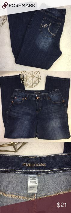 """Maurices denim flare jeans 18 regular Maurices denim flare jeans, size 18 regular. Excellent condition. Smoke free home. (A27)  Measures approximately: Waist 20"""" Rise 11"""" Hips 23"""" Inseam 31"""" Length 43"""" Cuff: 10 Maurices Jeans Flare & Wide Leg"""