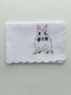 Embroidered Rabbit Hankie     Bunny Lover, Stocking Stuffer, Gifts Under $50, Custom Accessory, Bunny Scarf,