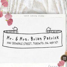 Custom Rubber Address Stamp Self Inking Stamp - organic lines - wedding personal housewarming gift - 1034. $29.95, via Etsy.