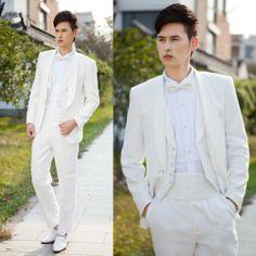 Ivory White Modern Vintage Mens Wedding Wedding Dress Suits Tuxedos SKU-123457
