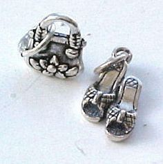 Sterling Silver Fashion Woman's Sandals and Purse Charms