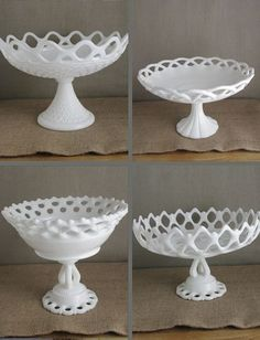milk glass compotes - I have a couple like these Vintage Dishware, Antique Glassware, Vintage Dishes, Antique Lamps, My Glass, Glass Art, Fenton Milk Glass, Westmoreland Glass, Glass Dishes