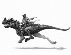 "1,414 Likes, 18 Comments - Shaun Keenan (@shaunmichaelkeenan) on Instagram: ""An outlaw can always rely on an Ceratosaurus for a clean get away. #oldwest #dinosaurs #dinosaur…"""