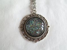 """Space Black & Gray Glitter Nail Polish Pendant Necklace: 25mm / 1"""" Glass Circle in Antique Silver Scroll Edge Setting"""