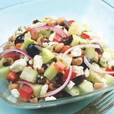 An easy salad to serve with grilled chicken or steak for supper or on a bed of greens for a satisfying lunch. Substitute white beans or chickpeas for the black-eyed peas if you prefer.