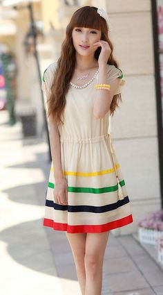 http://byi.hk/925 Colored ribbon Round neck chiffon dress features colored stripes hem design and elastic waist. This fashion dress is ideal for day-time wear. @ beyifashion
