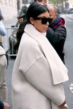 Kim Kardashian white coat km