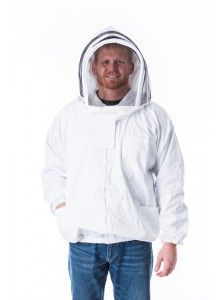 Front Open Bee Jacket, Fencing Hood.  This open bee jacket makes getting ready easy!  Put on, zip up, and you're ready to work.  Available with fencing or round hood in sizes small to 5X.