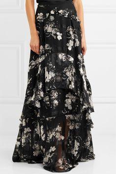 Erdem | Annabelle ruffled printed silk-chiffon maxi skirt | NET-A-PORTER.COM